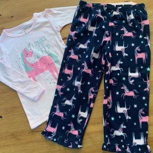5/$30 NWOT / Unicorn / Fleece / 2 Piece Pyjamas